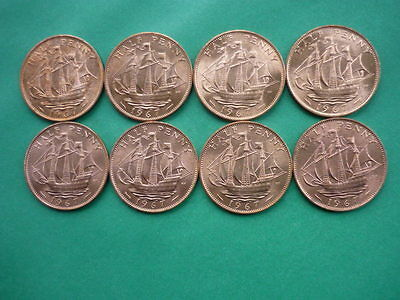 Elizabeth II Halfpenny collection 1967 (eight coins)