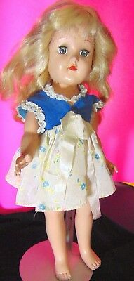 1950 Ideal Toni Doll Hard Plastic Blonde Retro Girl Dress Vtg Home Decor Collect