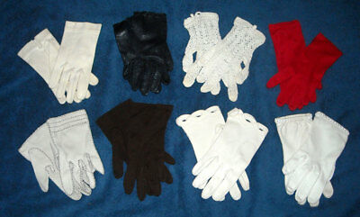 Vintage Lot 8 Girls Children's Gloves Leather Cotton Crocheted Dress Fancy