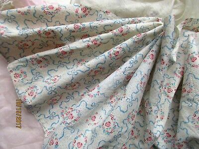 Htf Antique Tiny Flower Wreath Ribbon Bow Swag Dotted Cotton Fabric Trim Pc