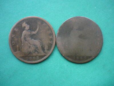 Victoria Bun Pennies 1863 and 1865