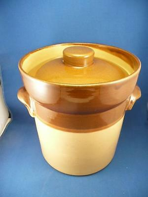 Vintage Glazed Retro Earthenware Pot With Lid 8.5 Inches Tall 8 Inches Diameter