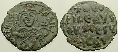 057. Byzantine Coin. THEOPHILUS. AE-Follis. Constantinople. VF