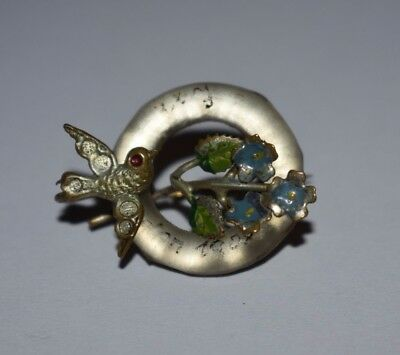 Lovely Vintage Swallow Brooch, Says London 1908 On The Glass Exhibition Souvenir