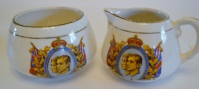 Vintage Sandland English Ware - Cream And Sugar - Royal Visit 1949 Souvenir