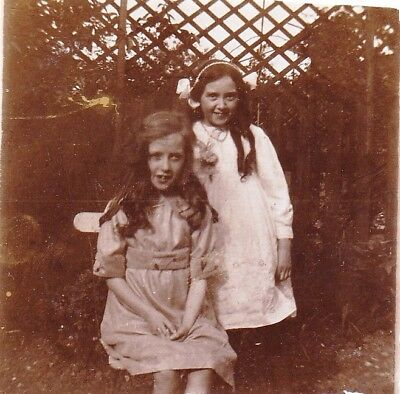 Vintage Old Photo Two Pretty Girls Bow Alice Band Long Hair Dresses Summer 1914