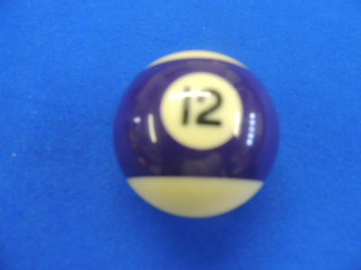 Replacement Number 12 Purple Stripe Pool Ball 2''