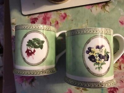 Queens Applebee Collection Fine Bone China Mugs Cups X 2 Collectable Must See