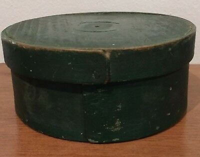~Antique 19Thc Small New England Bandbox Pantry Box Honest Old Green Paint Aafa~