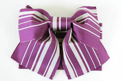 BNWT Purple/Silver Striped Easy Pre-Tied Tsukuri Obi for Kimono (Butterfly Bow)