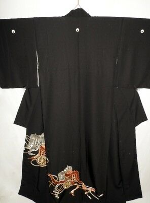 Vintage Japanese Black Crepe Tomesode/Wedding Kimono/Coat 'Royal Carriage' 10-14