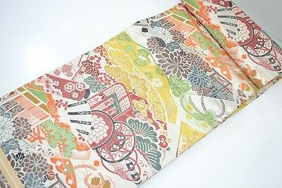 Vintage Japanese Stone/Multi Silk Maru Wedding Obi 'Flowers & Carriages' Textile