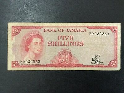 1960 Jamaica Paper Money - 5 Shillings Banknote !