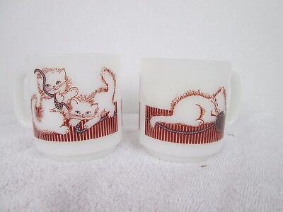 2 VTG Glasbake Kitten Cat Kitty  Mugs  Milk Glass Coffee Cup