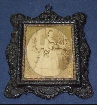antique victorian smiths American patent composite ornate photo frame Sepia Pic