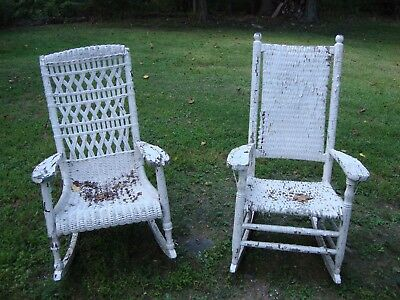 Vintage Rocking chair wicker  and bamboo with cushion white color
