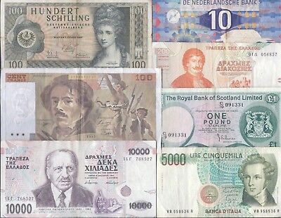 Europe, 7 DIFFERENT Pre-Euro Bankotes, Generally F-VF!!