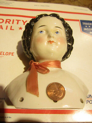 "Antique German Porcelain Shoulder Head Doll Head 5 1/2"" Tall Good Condition"
