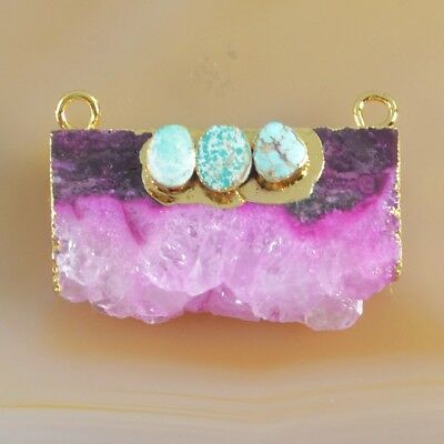 Hot Pink Agate Druzy Geode & Genuine Turquoise Connector Gold Plated B049379