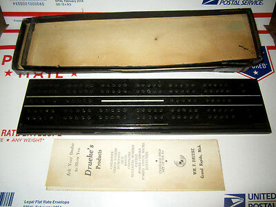 Vintage Wm. F. Drueke's Products No. 12 Cribbage Board W/ Box And Paperwork