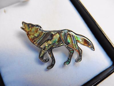 New unisex silver blue green multicoloured abalone shell wolf dog brooch