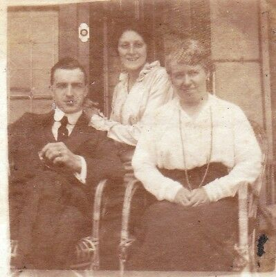Vintage Old Photo Two Ladies Man Cigarette Eastbourne June 1915