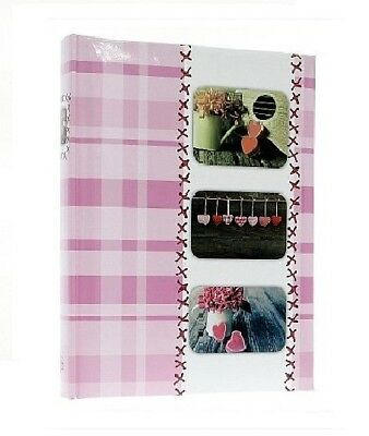 "Pink/White Slip In Photo Album Holds 300 6"" x 4"" Photos Heart Memories Gift"