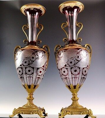 Palatial Pair Antique Russian Design Ruby Cut Enamel Bronze Mounted Glass Vases