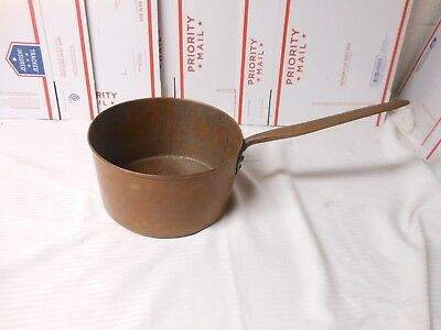 LARGE Antique Primitive Vintage Hand Forged Copper Pot Pan Long Handle