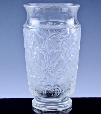EXCELLENT AUTH. c1941 R LALIQUE FRANCE DEAUVILLE PATTERN CRYSTAL ART GLASS VASE