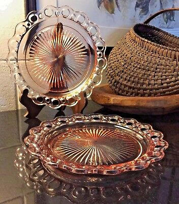 """Set of 2 Vintage Depression Glass Pink Old Colony Open Lace 10 1/2"""" Dinner Plate"""