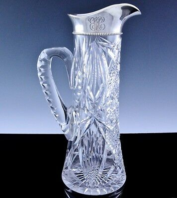 FABULOUS LARGEc1900 GORHAM STERLING SILVER & ABP CUT GLASS WINE PITCHER JUG VASE