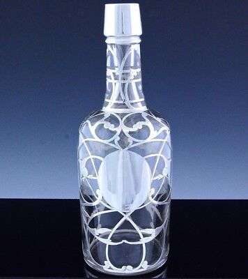 SUPERB c1900 STERLING SILVER OVERLAY GLASS SCOTCH WHISKEY WINE DECANTER BOTTLE