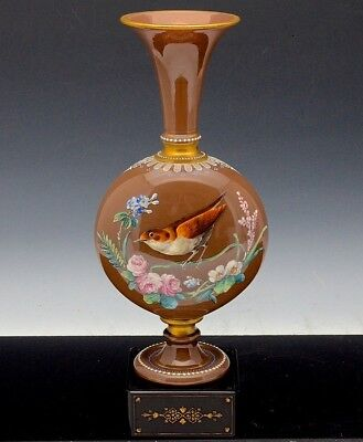 STUNNING LARGE c1880 VICTORIAN MOSER ART GLASS ENAMELLED BIRD FLOWERS VASE  N/R!