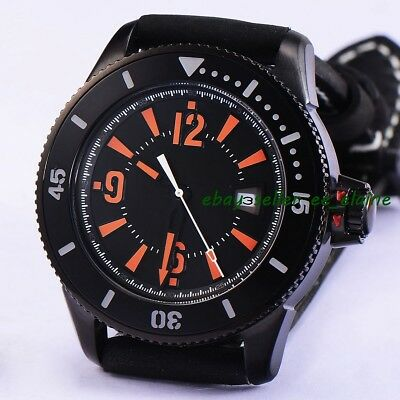 43mm PVD Case Mens Automatic Watches Sterile Dial Sub Style Ceramic Bezel 02