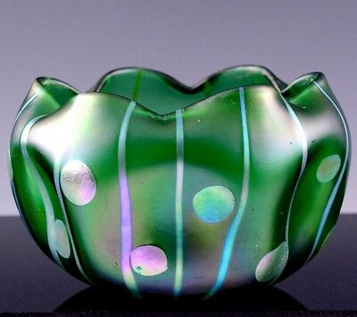 VRARE c1900 LOETZ STREIFEN UND FLECKEN PHENOMEN IRIDESCENT ART GLASS VASE BOWL