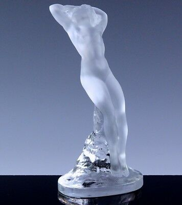 LARGE LALIQUE FRANCE DANSEUSE NUDE MAIDEN DANCER GLASS FIGURE w BLOCK SIGNATURE