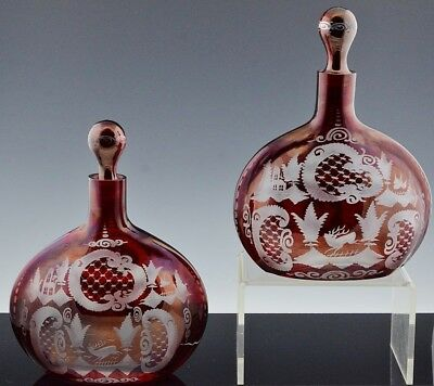 V.fine Pair Antique Bohemian Ruby Red Cut To Clear Deer Figural Glass Decanters