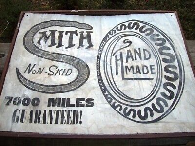 Antique Smith Hand Made Tires Banner Sign, 7000 Mile Guarantee!