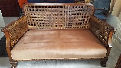 Charming antique Bergere settee and armchair