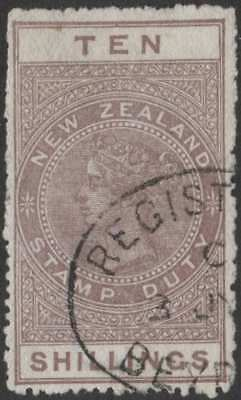 New Zealand NZ 10/- Maroon QV long-type postal fiscal USED