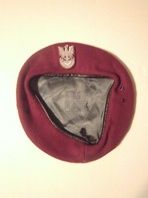 Authentic Airborne Brigade Polish Army Maroon Beret + Badge Poland - Cap Hat