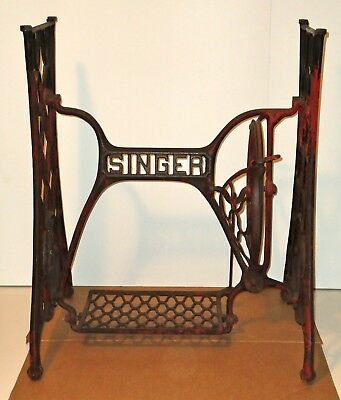 Vintage SINGER (66-16) Treadle Sewing Machine Iron Base w/ Casters - Red Patina
