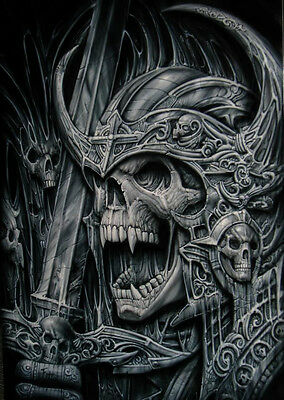 Euro 5 Stage Multi Layer Step By Step Airbrush Laser Cut Sword Skull Stencil