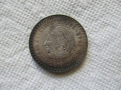 1948 Mexican 3 peso, Mo Mint, Silver .900 Coin, AU Cond. Great Toning.