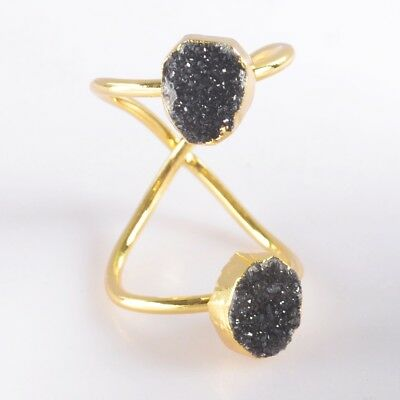 Size 5.5 Black Agate Druzy Geode Twisted Full Finger Ring Gold Plated B049403