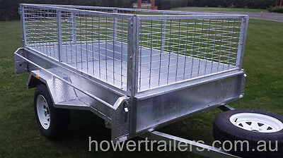 galvanised box trailer, inc 600mm Cage & Spare 7x4, Welded 2.5mm checker plate