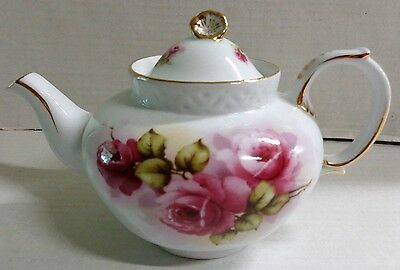 Derby White Teapot Pink Roses Flowers