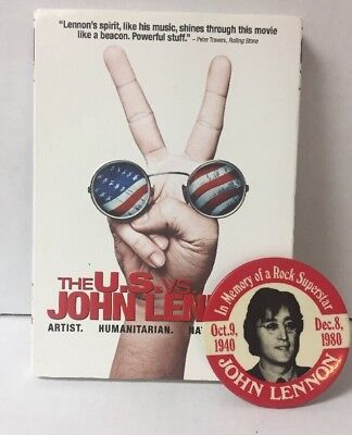 John Lennon 1980 In Memory of a Rock Superstar Pin + The US  vs John Lennon DVD