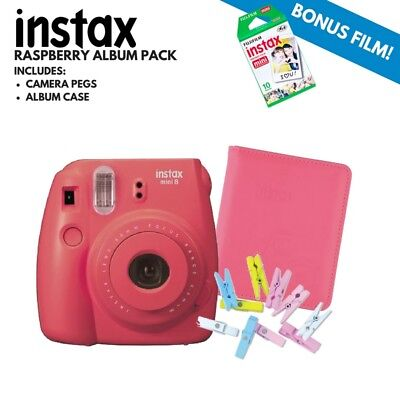 INSTAX MINI 8 RASPBERRY PACK INC Pegs & Twine and Album + 10 pack film